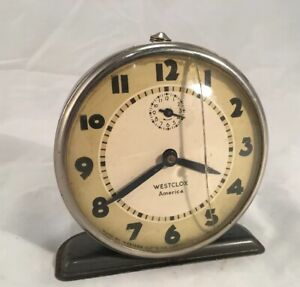 Vintage-Westclox-Alarm-Clock-RD1932-Cracked-Glass-Face