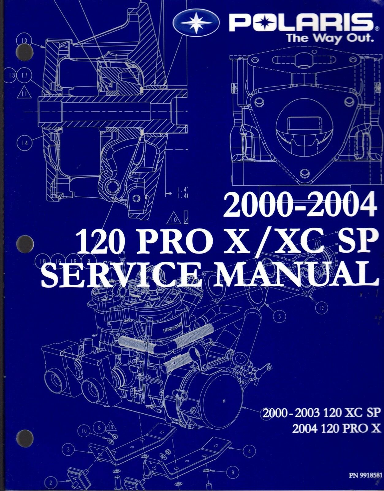 2000-04 POLARIS 120 PRO X & XC SP SERVICE MANUAL NEW P N 9918581  (213)