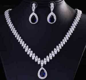 Image Is Loading 18k White Gold Rhodium Necklace Earring Set Made