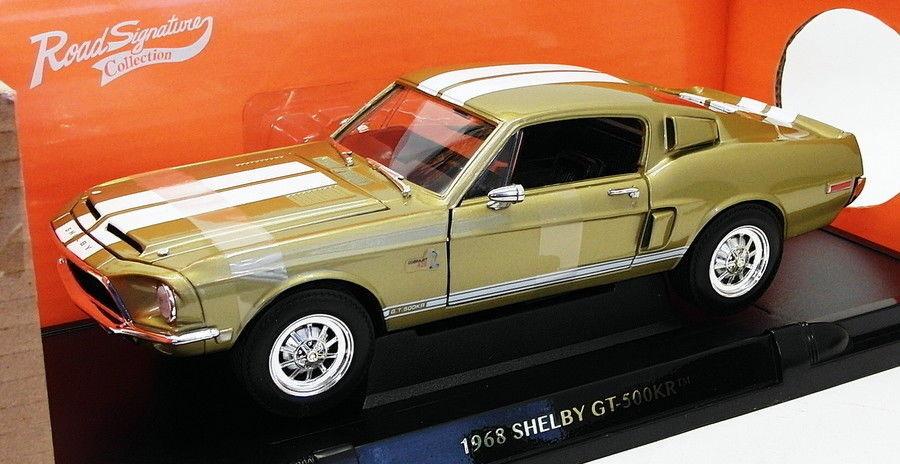 ROAD SIGNATURE échelle 1 24 voiture modèle 92168 - 1968 Shelby GT-500KR - Or