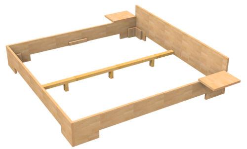 Massivholz Bett 200x200 Doppelbett Buche massiv Echt Hozbett Vollholzbett Fuß II