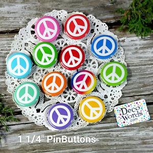 12-Hippy-PEACE-SIGN-1-1-4-034-Pinback-Buttons-Party-Favors-Hippie-Gift-USA-Pins
