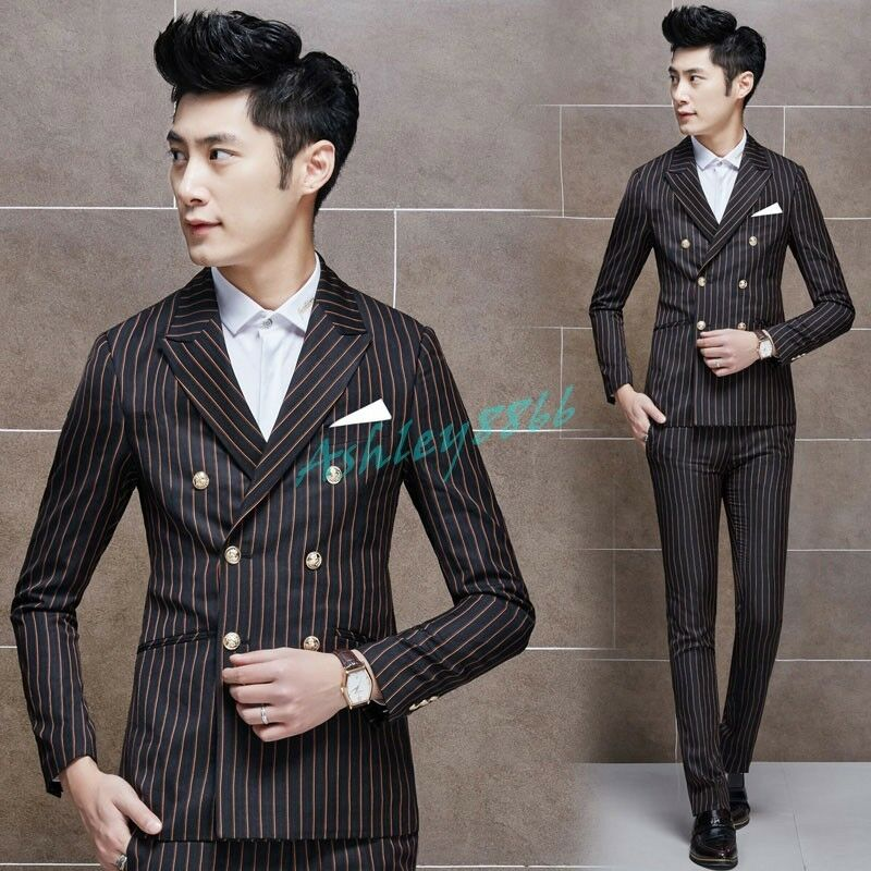 Mens Classic Pinstripe Slim Fit Work Business Double Breasted Suit Coat Pant New
