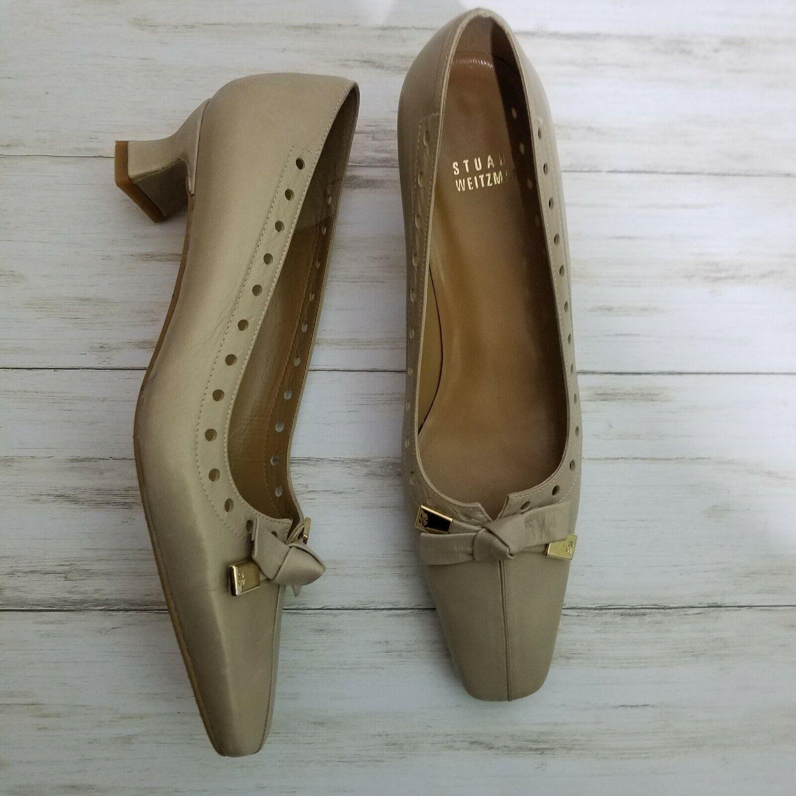 Vintage Stuart Weitzman Beige Leather Bows Perforated Edge Kitten Heels Sz 7N