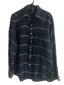Ike-Behar-Button-Up-Shirt-Mens-Medium-Navy-Blue-Linen-Long-Sleeve-Made-In-Italy