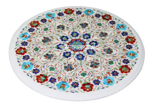 "20"" Marble Round Center Table Top Rare Lapis Gem Inlay Marquetry Art Home Decor"