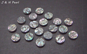 "1/4""/6.35mm Green Abalone Heart Eyes Dots 20+2pcs Free, J&N Pearl"