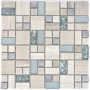 Mosaïque combinaison inox verre pierre bois gris blanc mur 88-0202_f ...