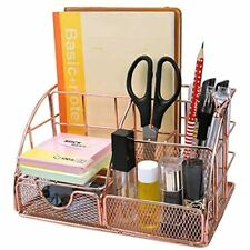 Hqdeal Rose Gold Mesh Desk Organizer With Pen Holder And Paper Organizer Office