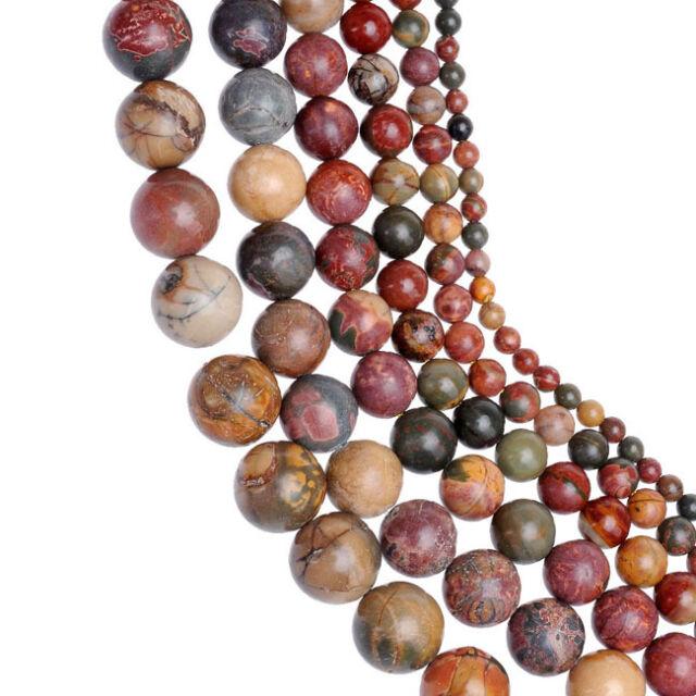 4/6/8/10/12/14mm Picasso Jaspis Edelstein Rund loose perlen Beads strang DIY