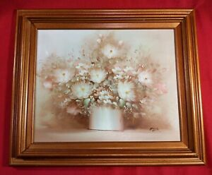 Vintage-Flowers-Still-Life-Original-Framed-Oil-Painting-on-canvas-signed-Rossy