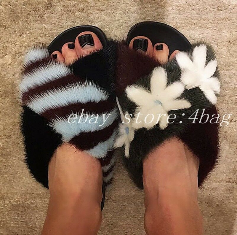 Women's Mink Fur Slippers Mules Slip On Floral Open Toe Sandals shoes Summer New
