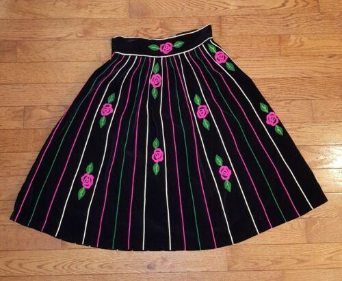1950s JULI LYNNE CHARLOT Black Velvet Rose Swing S