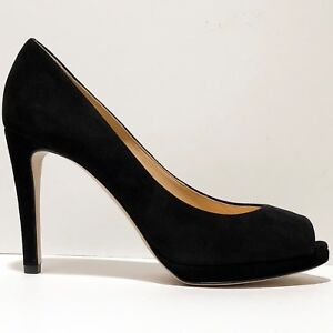695-Armani-Women-039-s-7-Black-Suede-Leather-Fashion-Open-Toe-Stiletto-Heels-Pumps
