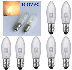 Led Ersatzlampen Für Lichterkette.Details Zu 10x 3300k Led Topkerze Fur Lichterkette Schwibbogen E10 10v 55v Warmweiss