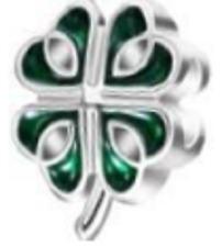 Irish Green Shamrock Silver Charm Bead EuroStyle Pandora Size Rustic