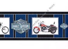 Genuine HARLEY DAVIDSON Logo Motorcycles Blue Red Black Silver Wallpaper Border