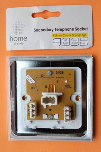 Homebase Cast Round profil chrome poli Esclave Prise Téléphonique Blanc Inserts