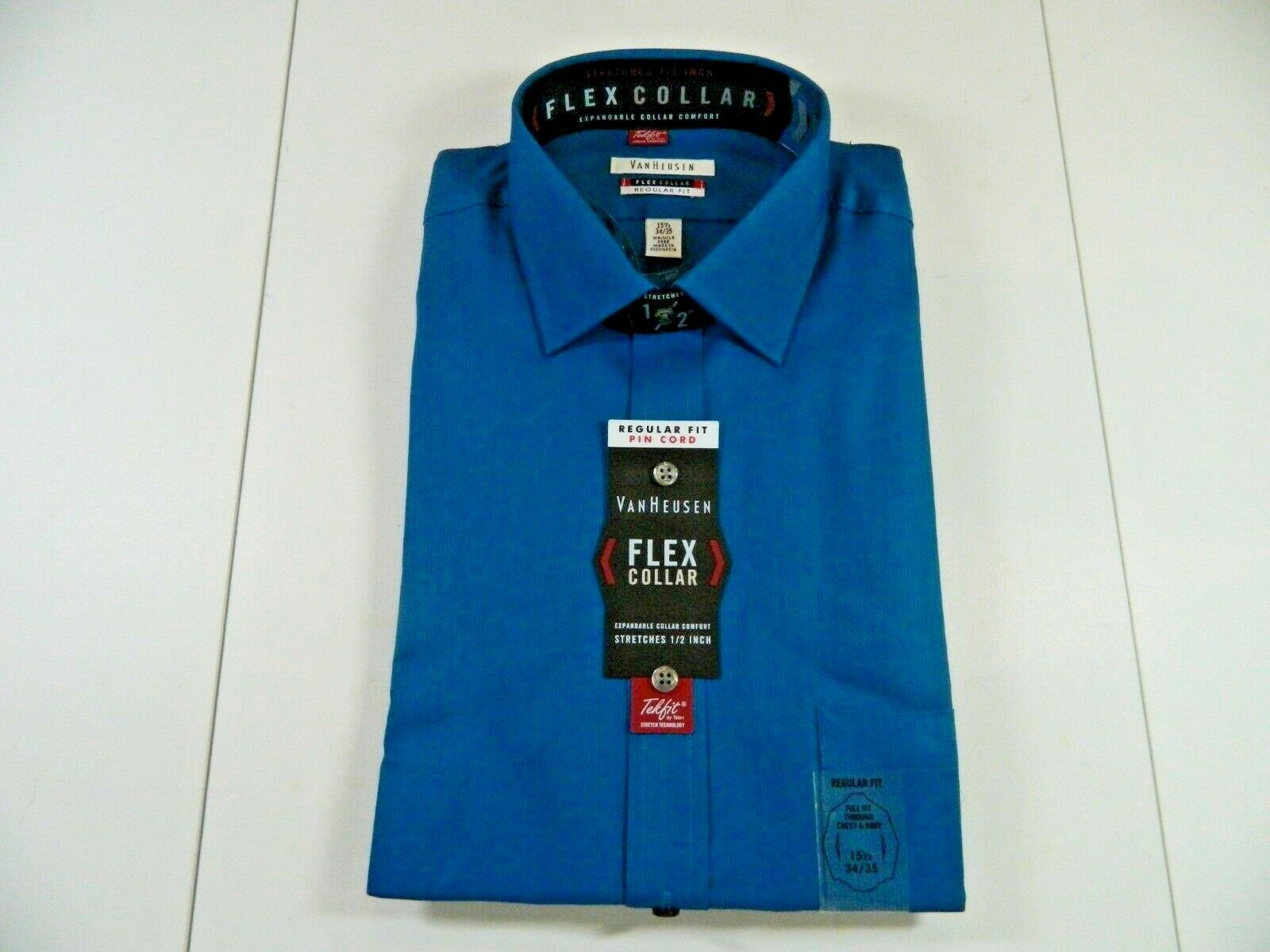 Van Heusen Mens Classic Fit Pincord Shirt Size 16-34//35 Lagoon