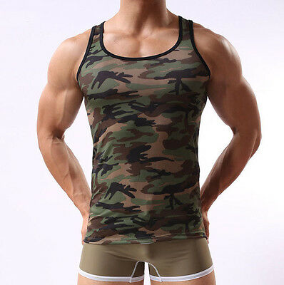Men's Military Camo Camouflage Skinny Muscle Sleeveless T-shirt Tank Top Vest