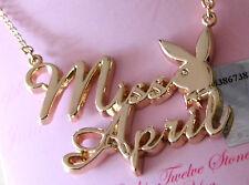 "Playboy Necklace ""Miss April"" Gold set with Gem Stone"