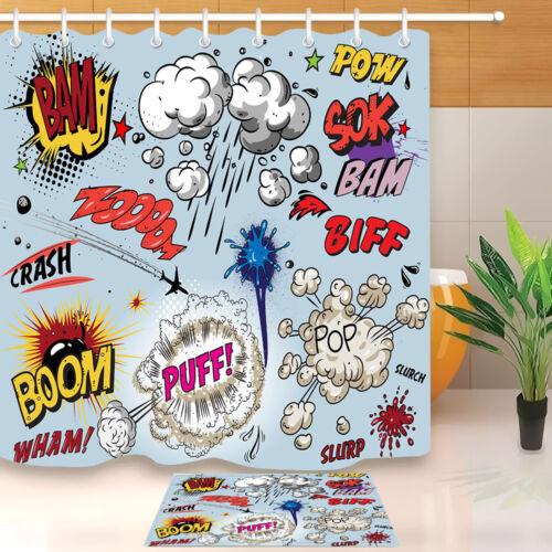 "72/"" Cartoon Superhero Decor Shower Curtain Waterproof Fabric Bathroom Hooks Set"