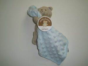Nwt Carters Child Of Mine Plush Tan Bear Rattle Blue