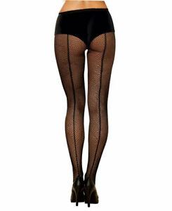 Dreamgirl-7034-Black-Fishnet-Pantyhose-Back-Seam-Adult-Women-039-s-Hosiery-One-Size