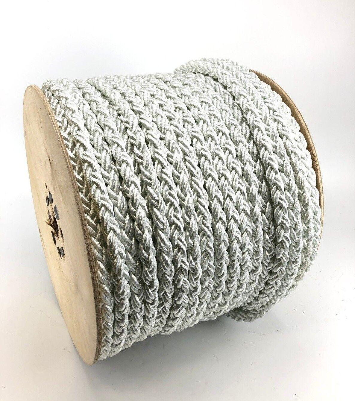 14mm 8 Strang weißes weißes weißes Nylon Seil x 50 m Rolle, Liegeplatz Seil multiplait 53ea0e