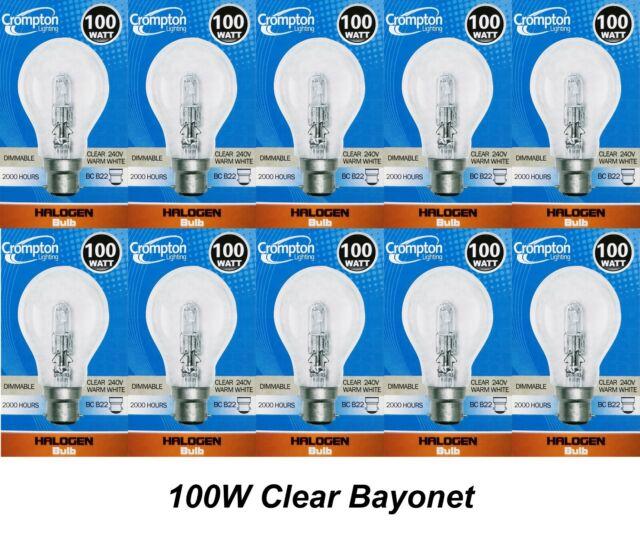 10 x 100W Clear Light Globes Bulbs B22 Bayonet Halogen Warm White Dimmable A60