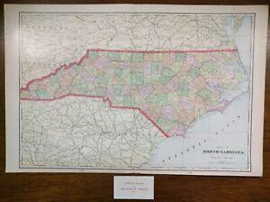 Vintage-1903-NORTH-CAROLINA-Map-22-034-x14-034-Old-Antique-CAMDEN-LEXINGTON-YORK