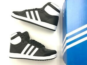 high top black and white adidas