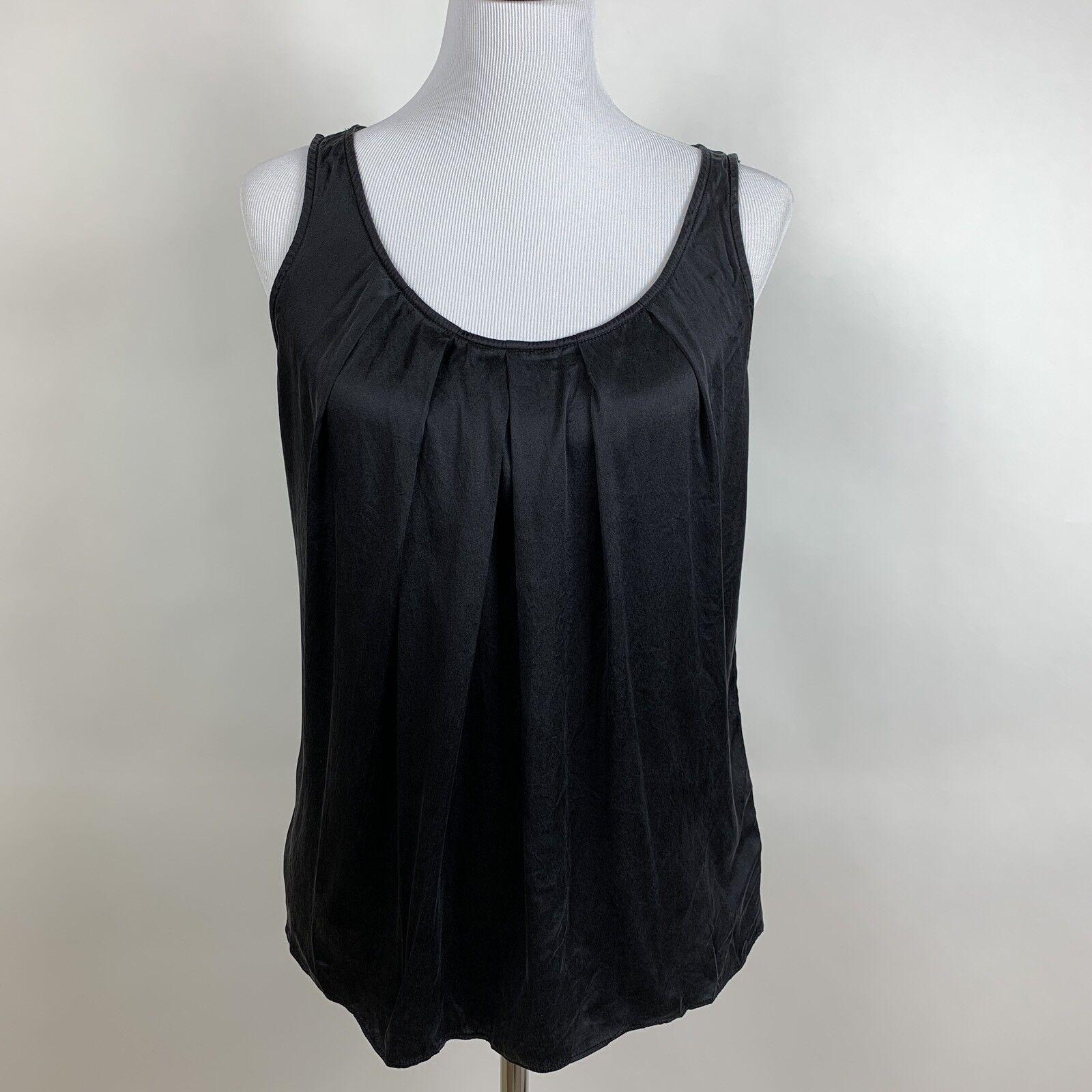 St. John damen schwarz Silk Blend Sleeveless Shirt Größe P