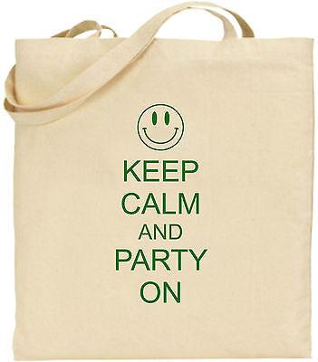 Keep Calm And Und Party Auf Großen Baumwolltasche Einkaufstasche Cool Spaß