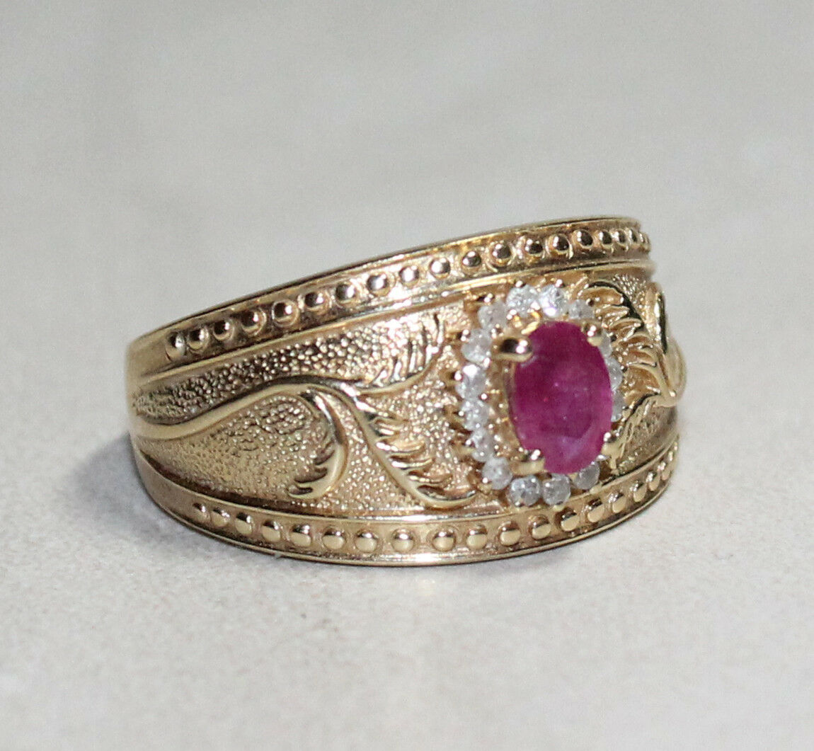 14K Yellow gold Ruby & Diamond Solitaire Ring w  accents .66 TCW  1880  (AP 003