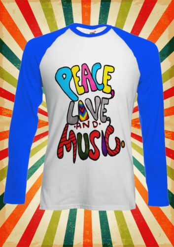 Peace Love and music Cool Drôle Hommes Femmes Long À Manches Courtes Baseball T Shirt 629