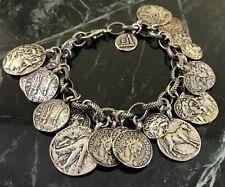 Silpada Oxidized Sterling Silver Roman Coin Cha Cha Charm Bracelet B1624