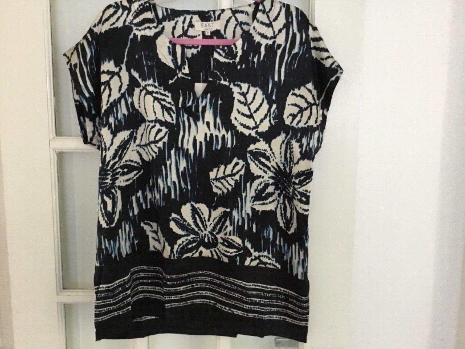 East John Lewis silk patterned tunic  kaftan style top Größe 8 bnwt