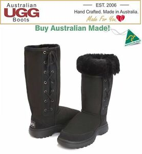 100-Australian-Made-OUTDOOR-SOLE-Lace-UP-Sheepskin-Ugg-Boots-Great-for-Camping