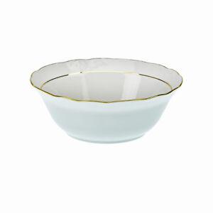 Bol-Porcelaine-Saladier-14cm-Presentation-Service-Plat-Salade-Blanc-Cercle-D-039-Or