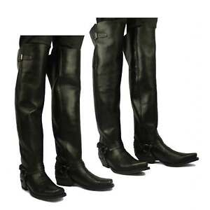 86fd0a60326 Details about Sendra 7977 Mens Leather Over Knee Thigh High Pull On Western  Cowboy Boots Black
