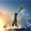 Superheros Aquaman Trident Weapon Model Keychain Cosplay Prop Metal Keyring Gift