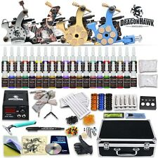 Complete Tattoo Kit 4 Machine Gun Power Supply 40 Color Inks Set 50 Needles D176