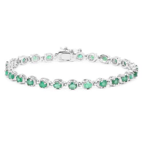 Zambian Bracelet 3.90 ct 925 Sterling Silver Emerald Gemstone 7.25 inches