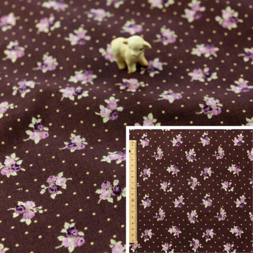Graisse brune pourpre trimestre compteur100/% coton toile FQ coudre quilting floral dots