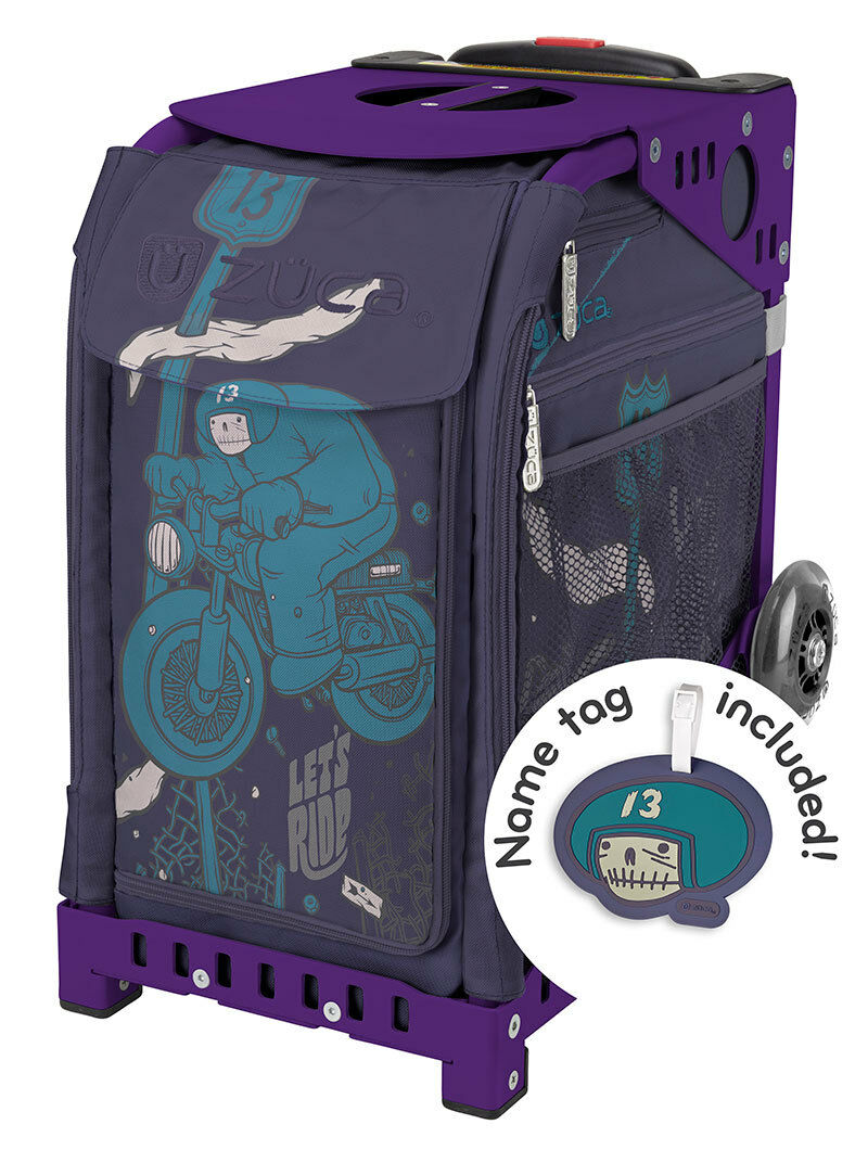 ZUCA Bag LET'S RIDE Insert & Purple Frame w Flashing Wheels - FREE SEAT CUSHION