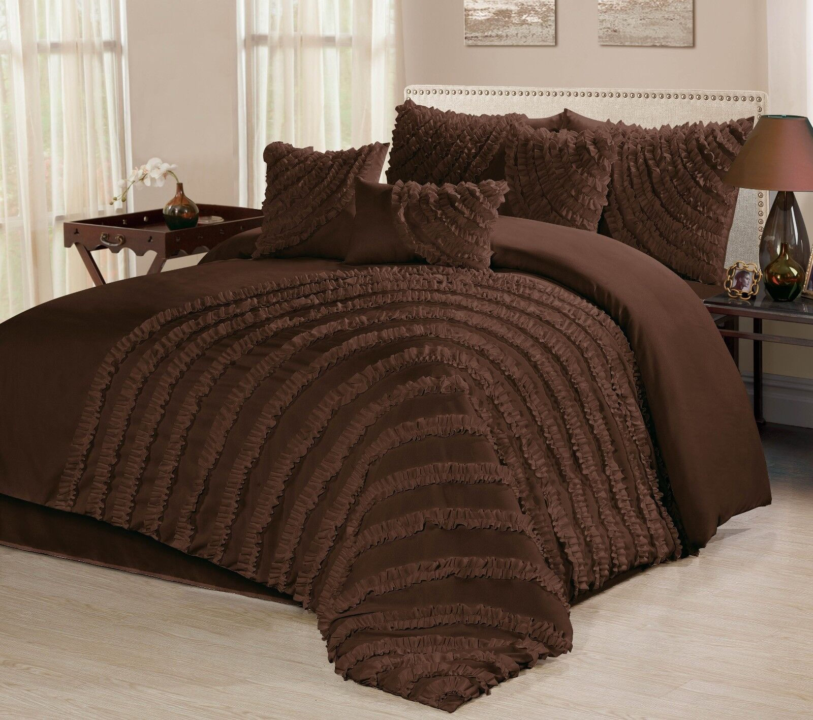 7 Piece Hillary Bed In A Bag Ruffled Comforter Sets Queen King