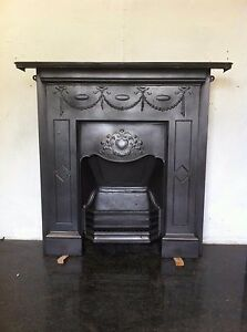 Original Restored Antique Victorian Cast Iron Bedroom Fireplace Large (TA184)