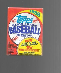 Vintage-1988-Topps-MLB-Unopened-Trading-Cards-Baseball-Pack-Of-15-Bubble-Gum