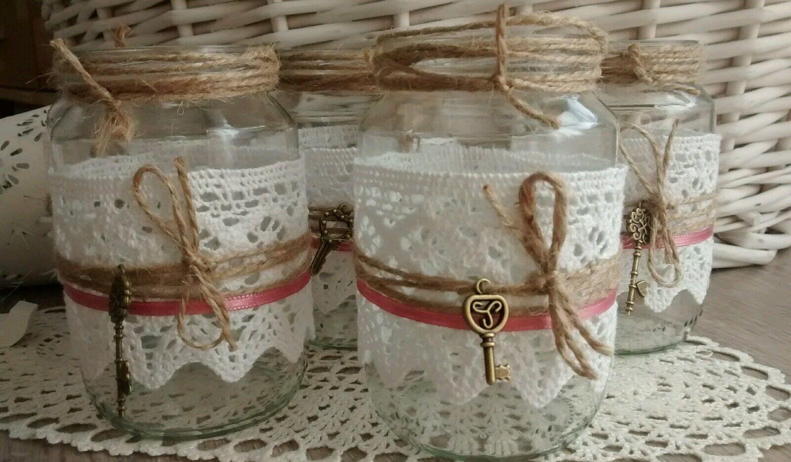 ♥20 Windlichter Vasen Hochzeit Hochzeit Hochzeit Vintage Spitze Deko Schlüssel weiß altRosa Rosa ♥    Trendy  31776d